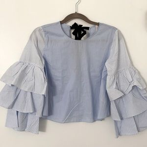 Zara Light Blue Blouse with Bell Sleeves